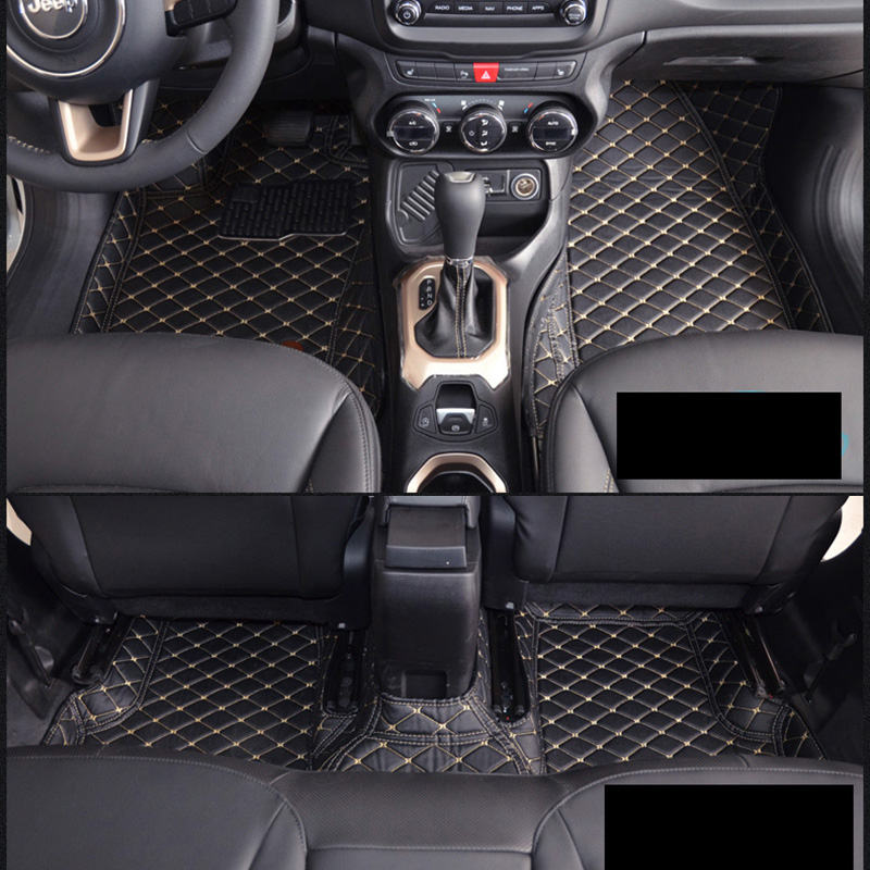 lsrtw2017 leather car interior floor mats for jeep Renegade 2014 2015 2016 2017 2018 2019 2020 accessories auto parts