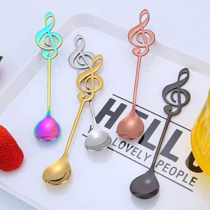 5 قطعة الفولاذ المقاوم للصدأ ملعقة القهوة ملاحظة شكل الموسيقى موضوع الشاي اثارة ملعقة صغيرة الآيس كريم الحلوى مغرفة الإبداعية أطباق