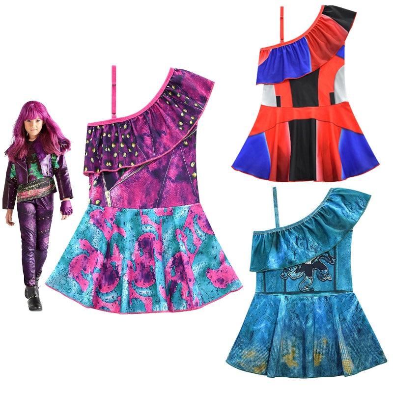 2020Children Swimsuit Descendants 3 Mal Audrey Cosplay Costume Fancy Dress Childrens One-shoulder Tops Skirt Swimwear Grils