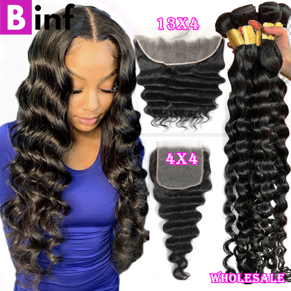 30 40 Loose Deep Wave Bundles with Closure 8-40 Inch Frontal With Bundles Brazilian Remy Human Hair 3/4 Bundles With Closure