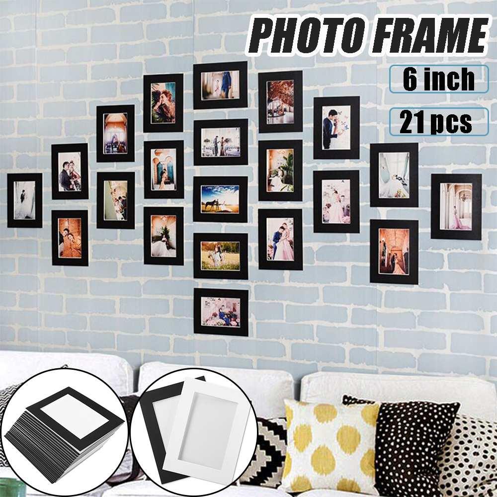 21 шт./компл. черный и белый DIY Комбинации Бумага фоторамка настенные Гостиная Спальня Съемная забавная рамка для фотографий