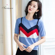 2019 Summer Autumn Office Lady Knitted O Neck 2 Color Pullover Fashion Patchwork Short Sleeve Size S-xl Women Sweater Jl-aym1912