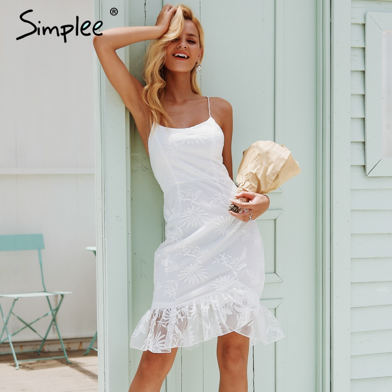 Simplee Elegant Ruffles Hem Lace Mesh Sundress Backless Lace Up Sexy Bodycon Mini Dress Women Party Club Wear Dress Vestidos