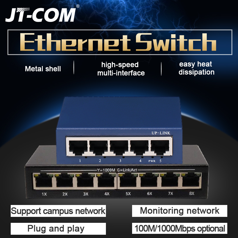 5 Ports 1000M Gigabit Ethernet Switch, 8 Ports 100/1000Mpbs Network Switches,Hub LAN,Full-duplex,Auto MDI/MDIX