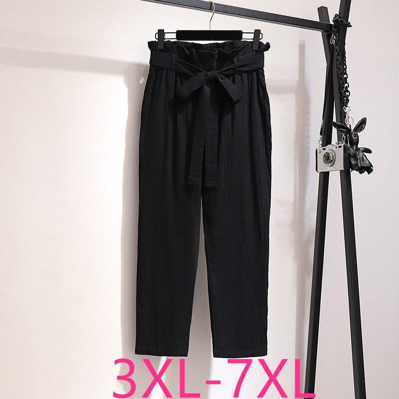 New 2020 ladies summer plus size haren pants for women large loose casual cotton belt black long trousers 3XL 4XL 5XL 6XL 7XL