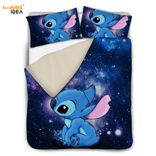 3Pcs Space Galaxy Cute Stitch Design Bedding Set Sheet 3D Cartoon Bed Linen Linings for Boys Kid/Children Bedspread Home Textile(China)