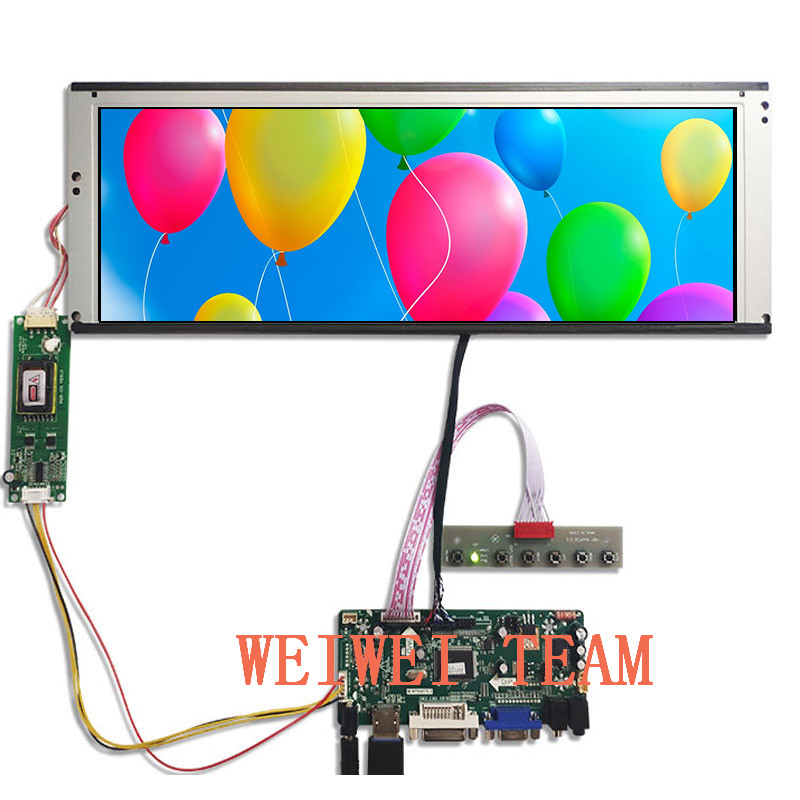 Wisecoco LTA149B780F 14.9 Inch Stretched Bar LCD Screen 1280x390 TFT Display Ultra Wide VGA DVI LVDS HDMI Driver Board