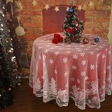 Cubierta de mantel de encaje de árbol de Navidad mantel de encaje Vintage blanco para fiesta de Navidad Decoración de mesa