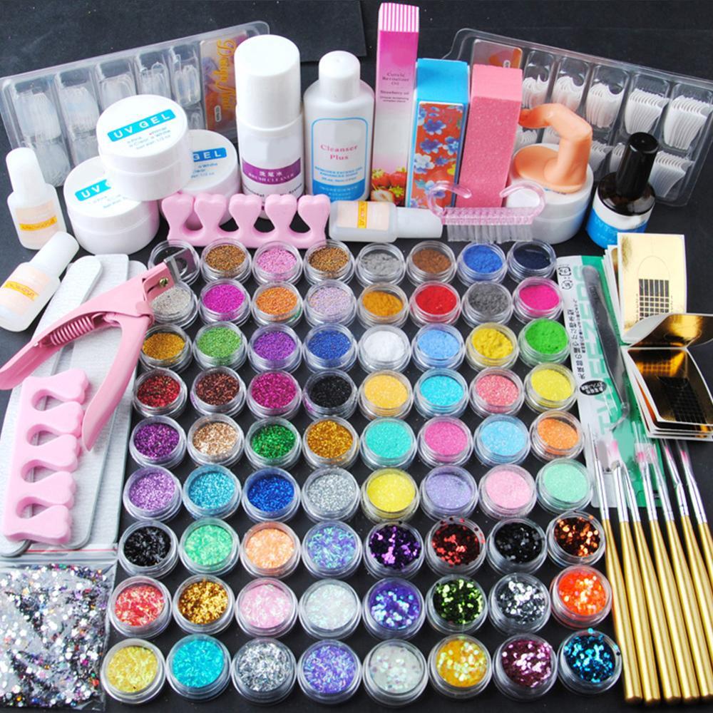 COSCELIA Pro 72pcs Nail Acrylic Powder Glitter Manicure Set UV Gel Nail Art Tools Set Acrylic Nail Kit Brush Nail Tip Decoration