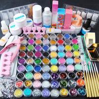 Coscelia pro 72 pçs prego acrílico em pó glitter manicure conjunto uv gel ferramentas da arte do prego conjunto acrílico prego kit escova ponta do prego decoração