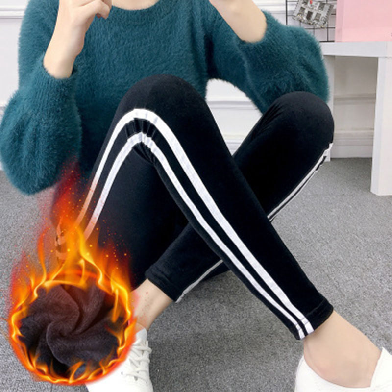 Lady Casual Fashion Active Wear Side Striped Women Leggings Winter Plus Velvet Fur Plus Thick Warm Skinny Slim Fit Pencil Pant