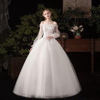 Mrs Win Wedding Dress 2020 New Romantic Full Sleeve Boat Neck Ball Gown Luxury Lace Wedding Dresse Elegant Wedding Gowns G50