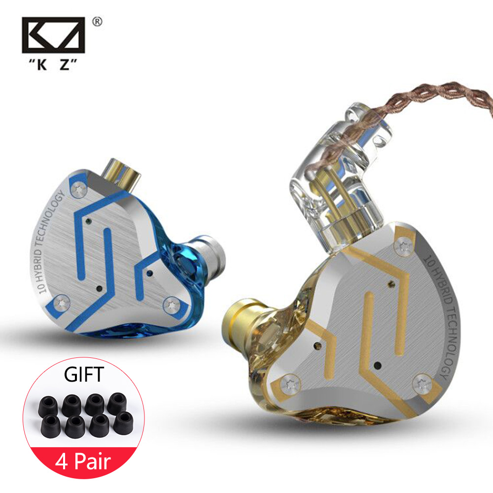 KZ ZS10 Pro Earphones 4BA+1DD Hybrid In Ear Headphone HIFI Headset DJ Monitor Earphone Earbuds KZ ZS10PRO AS10 ZSX CCA C10 C16
