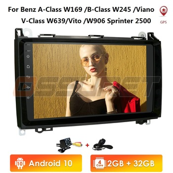 Hizpo Car Multimedia Player Android 10 2 Din GPS Autoradio For Mercedes Benz B W245 B150 B160 B170 B180 B200 B55 2004-2012 2+32G image