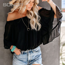 2020 Summer Women's New off-Shoulder Speaker Three-Quarter Sleeve Sexy Slim Elegant Loose Chiffon Shirt Top(China)