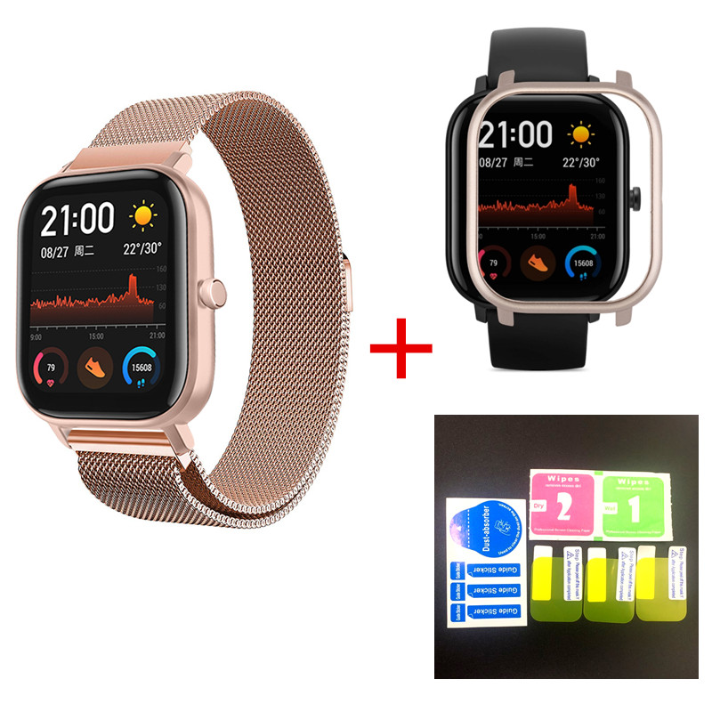 NE 5in1 Smartwatch Accessories For Huami Amazfit Bip Strap Stainless Steel Bracelet Magnetic For Amazfit GTS Case Protector Film