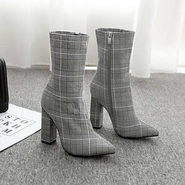 NIUFUNI Stripes Sexy Slim Ankle Boots For Women Shoes Pointed Toe High Heels Botas Mujer Femme Zipper Chelsea Boots Size 35-42 4