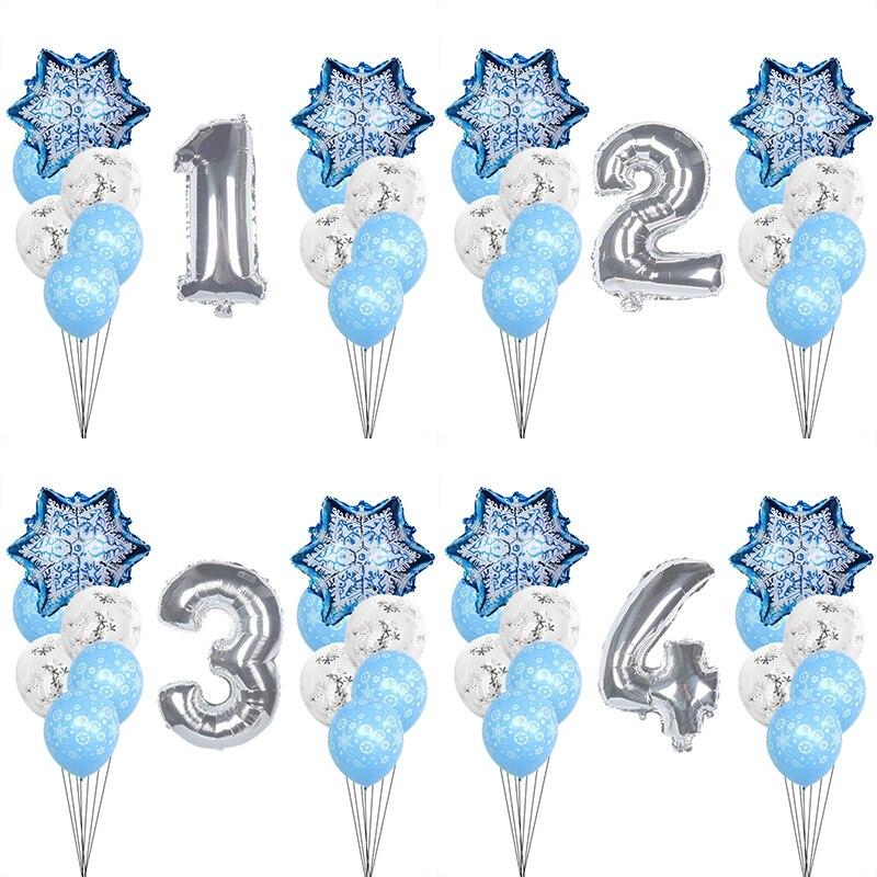 18p menina crianças festa de aniversário floco de neve látex balão do chuveiro do bebê decoração número balões conjunto de natal congelado-floco de neve menino favor