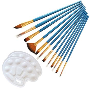 14pcs/set Artist Paint Brush Nylon Hair Watercolor Acrylic Oil Painting Palette L41F 12 wood artist paint brush suits wood palette nylon hair watercolor acrylic painting brush artistic supplies