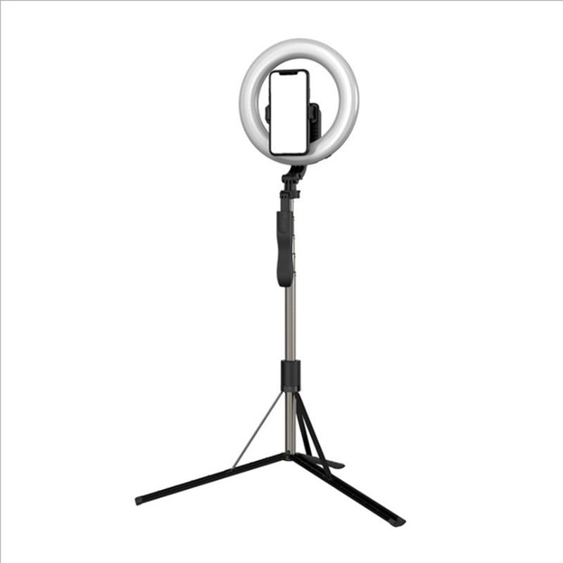 Selfie Pole Tripod with Fill Light 8 Inch 1.6M Telescopic Portable Live Desktop Floor LED Fill Light Bracket