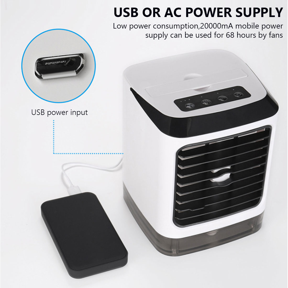 Mini Air Conditioner Device Fans Portable Air Cooler  With 3 Wind Speed Touch Screen Portable Evaporative Air Conditioner