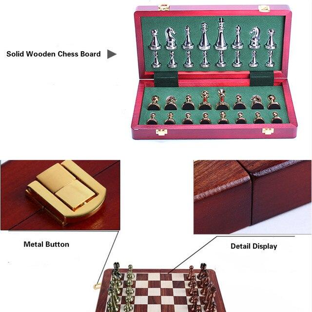 Jeu d'échecs professionnel 30cm, pièces Bronze doré et argenté brillant, échiquier pliant en bois massif de haute qualité 3