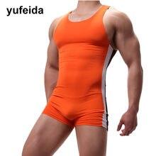 Sexy hommes sous-vêtements une pièce justaucorps Sport body combinaison maillots de bain lutte Singlet sous-vêtements Boxer Shorts U poche convexe
