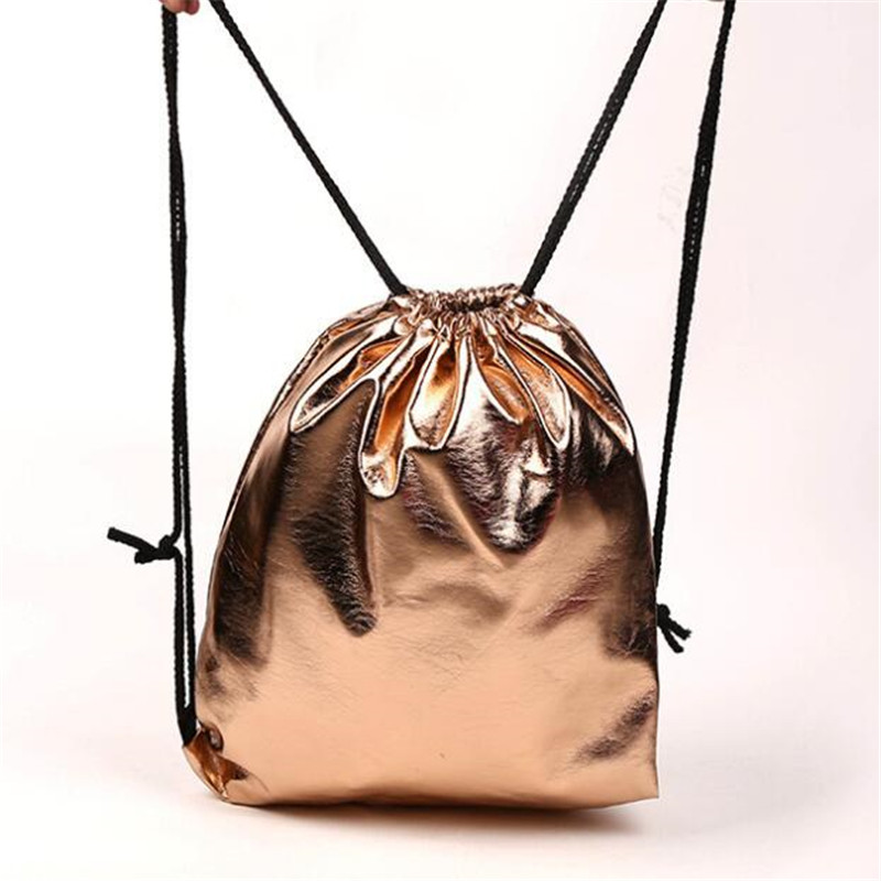 Drawstring Bag With Pu Leather Strap Pocket To Hold Solid Color Gift Bag Sports Bag Small Mini Travel Bags