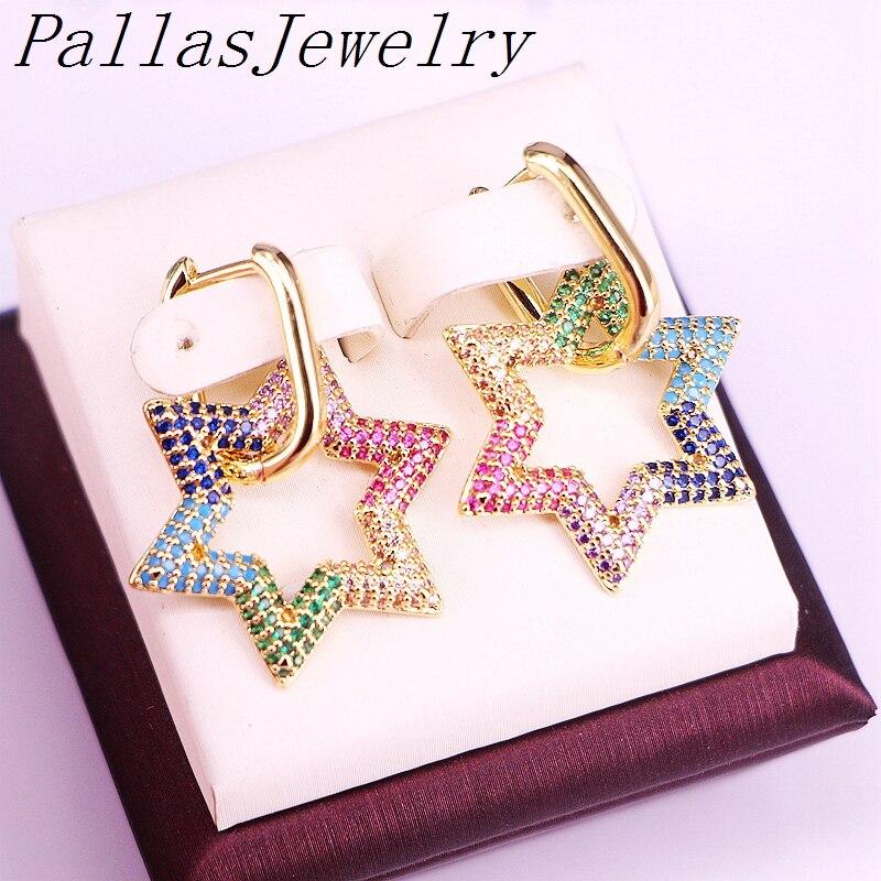 para mulheres arco-íris zircônia cúbica micro pavimentar jóias brincos de cor de ouro