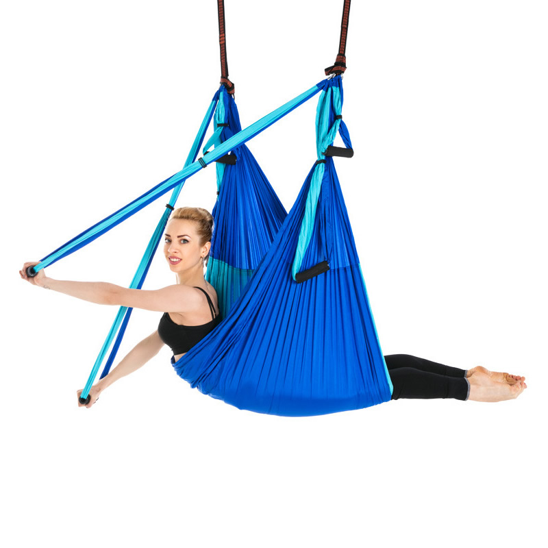 Hot 6 Handles Anti-Gravity Yoga Hammock Trapeze Home Gym Hanging Belt Swing Strap Pilates Aerial Traction Device 2.5*1.5m