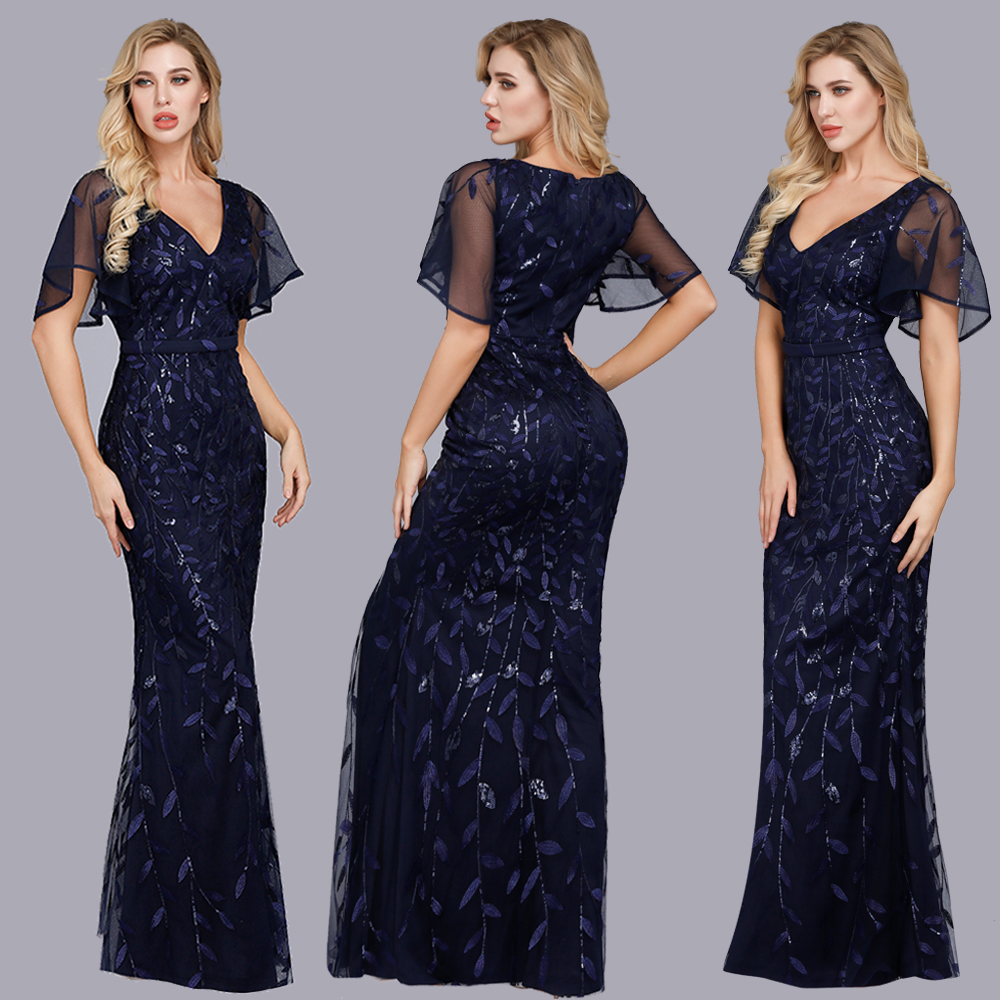 Short Sleeves Long Sleeves Fish Tail Evening Dresses Long Sparkle Draped Tulle Formal Dresses Elegant Women Party Gowns