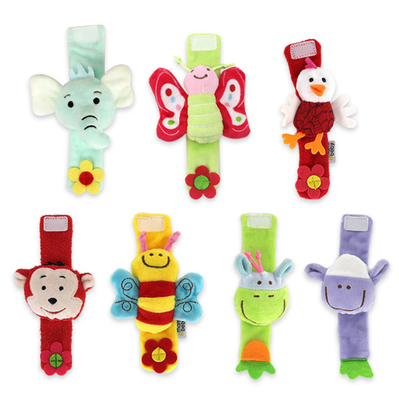0-12 Months Baby Wrist Rattles Plush Animal Cartoon Wrist Strap Hand Bells Soft Washable Cute Infant Newborns Children Gift Toy