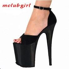 Mclubgirl sexy preto confortável camurça cabeça redonda sexy salto alto feminino 20 cm super salto alto sandálias boca de peixe lyp