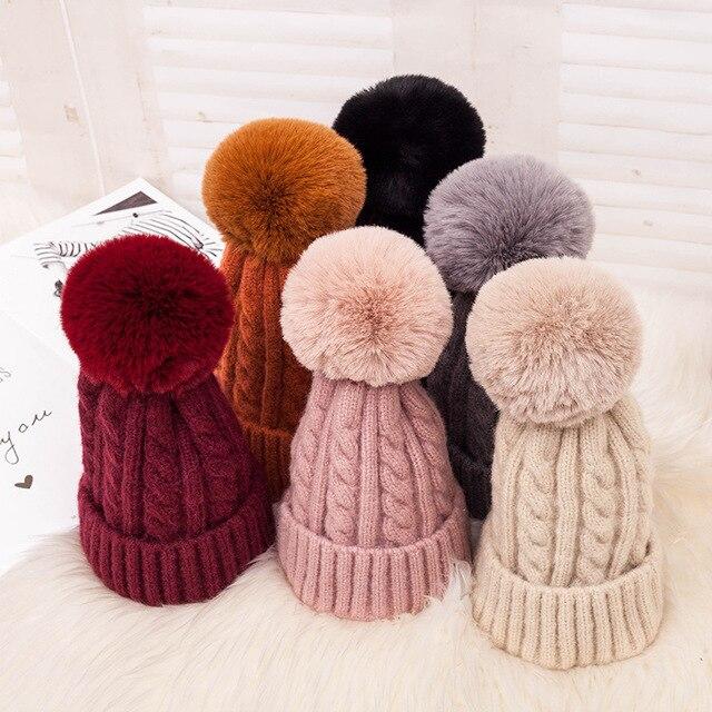 Fashion Warm Knitted Women's Hat Striped Winter Hats For Women Pink Fur Pompom Wool Beanies Thick Skullies Cap faux Pom pom Hat 2
