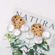 2019 Korea Design Metal Gold Drop Earrings Baroque Irregular Circle Square Natural Freshwater Pearl Earrings For Women Girls(China)