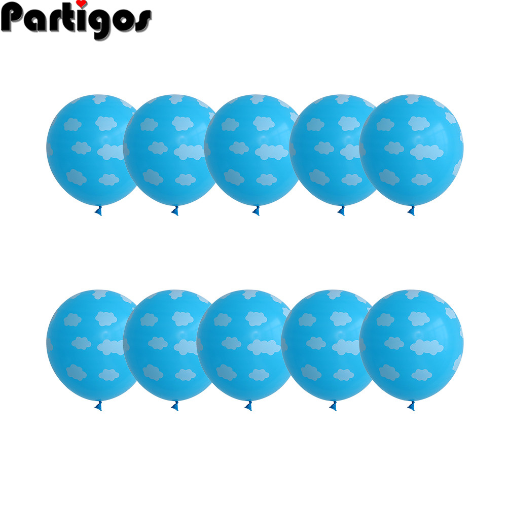 10pcs 12 Blue White Cloud Balloons Boy Airplane Toy Birthday Wedding Decor Hawaii Theme Kids Birthday Party Supplies Air Globos image