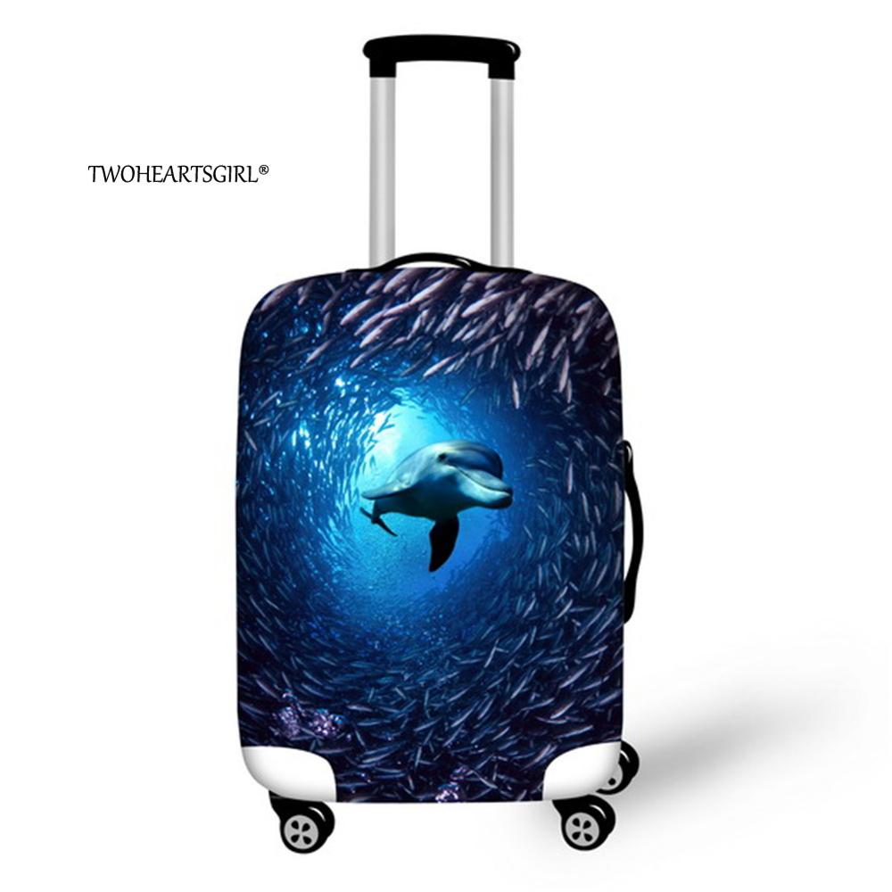 Twoheartsgirl Shark Print Luggage Cover Waterproof Suitcase Cover Elastic 18/20/22/24/26/28/30/32 Trolley Case Protective Covers