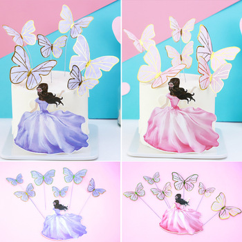 Cake Toppers Flags Beauty Butterfly DIY Cupcake Topper Kids Girl Happy Birthday  Wedding Bride Party Baby Shower Baking Decor cake toppers flags hot air balloon star moon rainbow cake topper kids happy birthday wedding baby shower baking party diy xmas