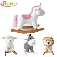 Ruizhi niños lindo unicornio León oveja mecedora caballo de peluche de madera paseo en Animal juguetes bebé mecedora niños regalo RZ1160