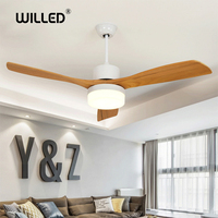 52 Inch Ceiling Fans 3 Blades wooden three colors remote control fan creative wood 220v for living room