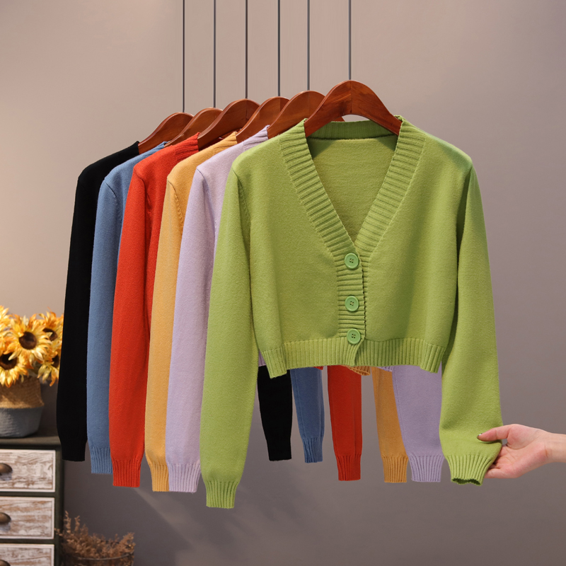 Spring Women's Cropped Cardigan Sweaters Casual Female Button Sweater V Neck Single Breasted Loose Long Sleeve Knitted Cardigan