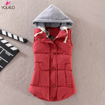 2019 New Arrival Women Vest Female Warm Sleeveless Jacket Cotton Solid Hooded Vest for Outerwear for Ladies Femme