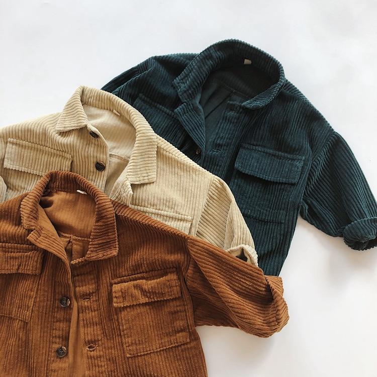 Kids Tops Coat Long Sleeve 2021 New Autumn Simplicty Corduroy Girls Coat Baby Jacket Boys Jackets Toddler Girl Winter Clothes 1