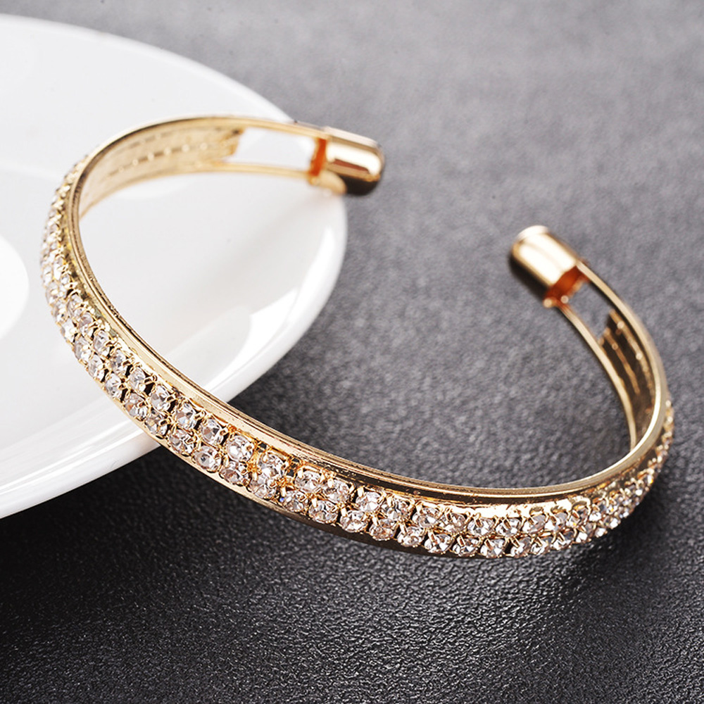 Luxury Two Row Diamands Open Bangle Metal Glossy Glitter Gold Women Fashion Elegant Rhinestone Cuff Bracelet Jewelry Gift