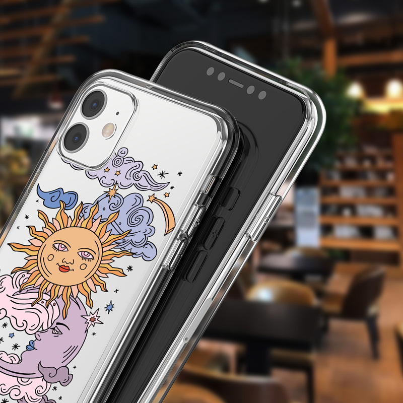 Funny Sun Moon Face Clear Phone Case For iPhone 11 Pro Max X XS XR Xs Max Soft TPU Clear Back Cover For iPhone 6 6s 7 8 Plus