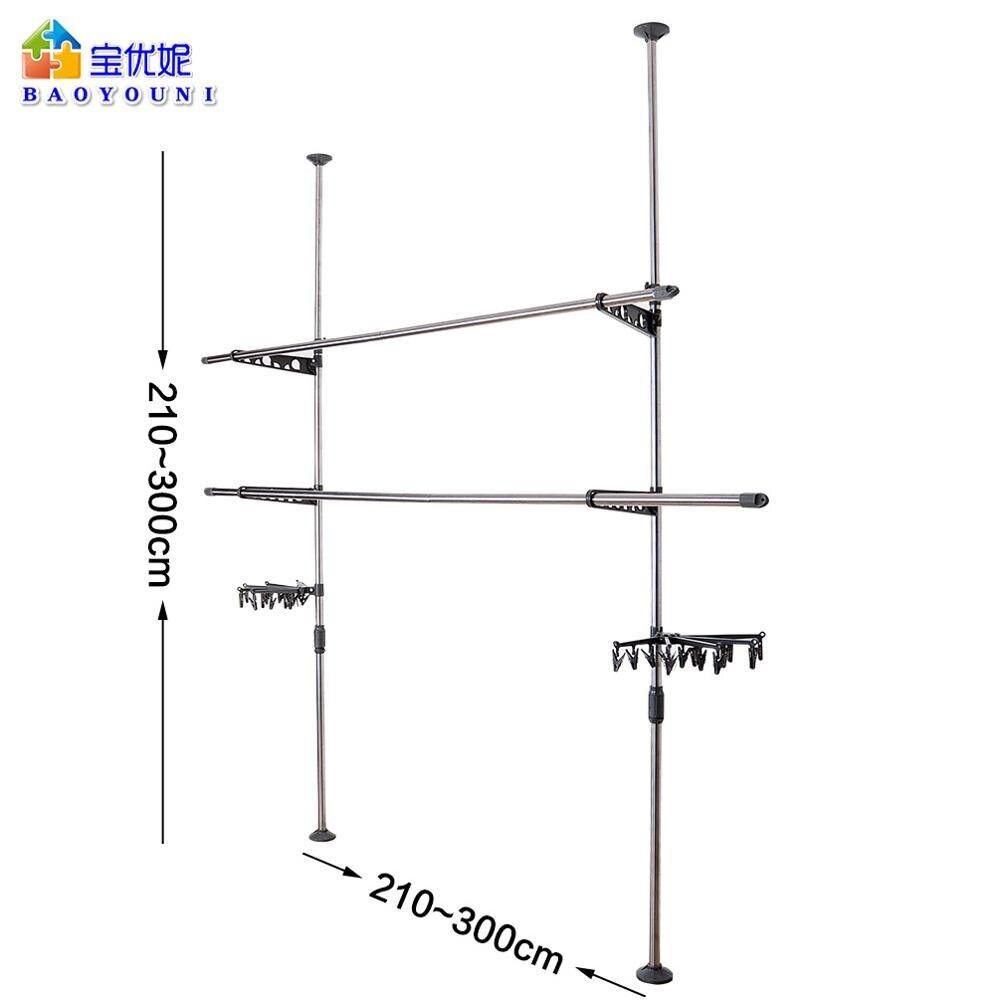 Cabides de secagem cabides rack de vestuário cabide cabides de secagem de chão ao teto ajustável rack de secagem + clip DQ0777 29D - 3