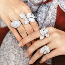 Big Leaf Rings For Women Cz Pave Setting Elegant Unique Design Rose Flower Open Adjustable Finger Jewelry Party CRP2033E