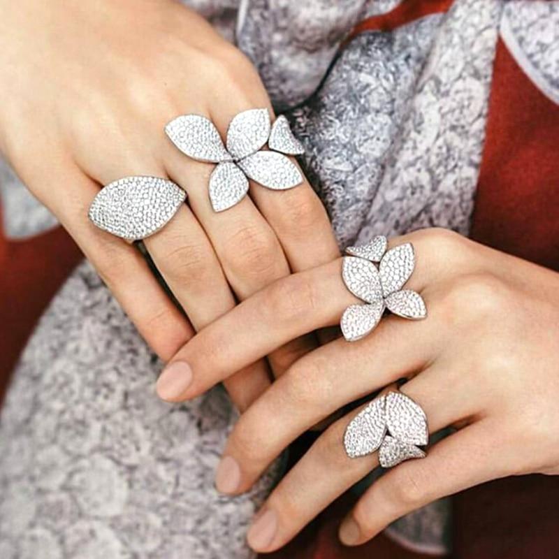 Большой лист Кольца для женщин Cz Pave Установка элегантный уникальный дизайн розы Открытый регулируемый украшения для пальцев вечерние CRP2033E