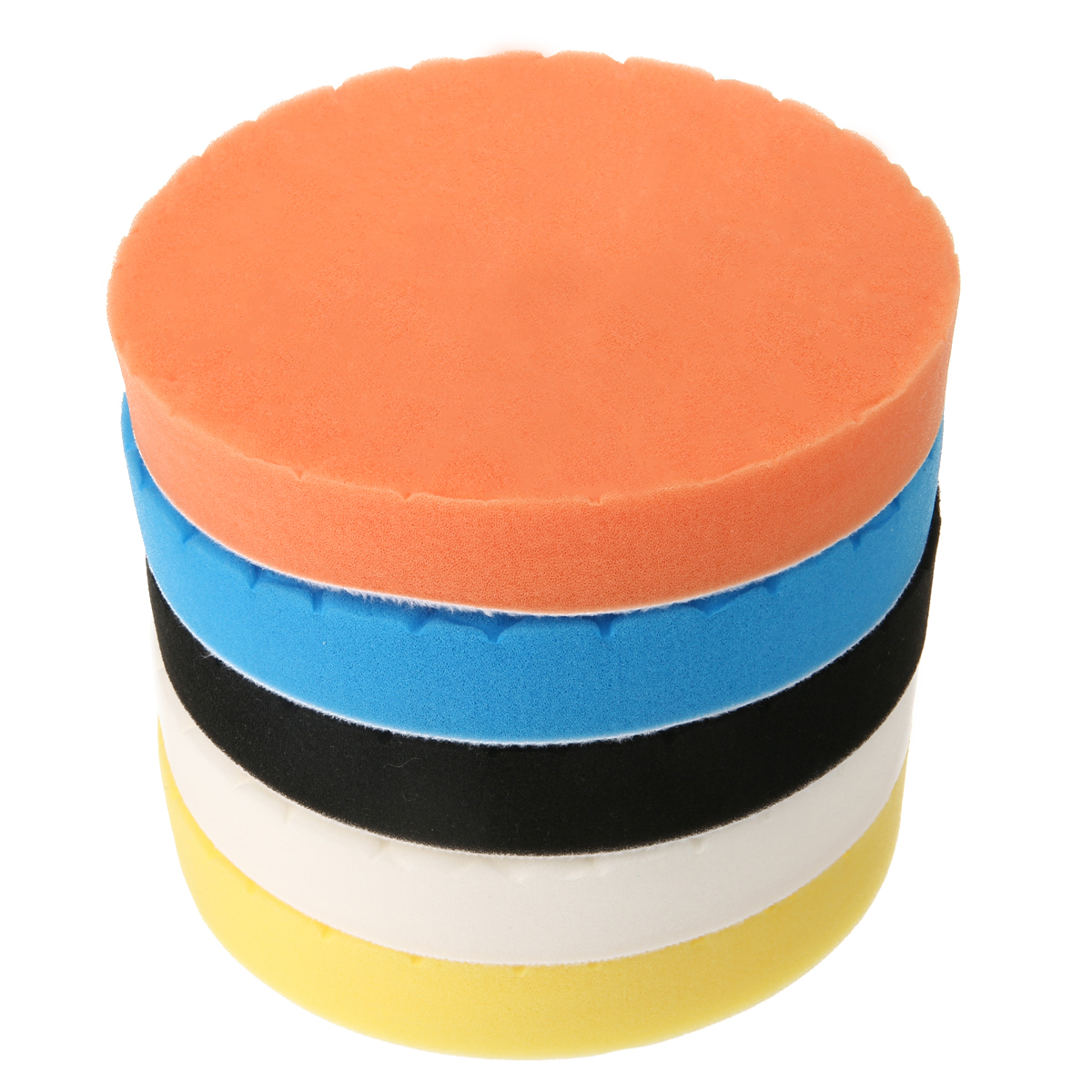 5pcs 7 Inch Polishing Disc Pad Kit White Blue Yellow Black Orange 5 Colors Buffing Sponge Foam For Car Polisher Buffer
