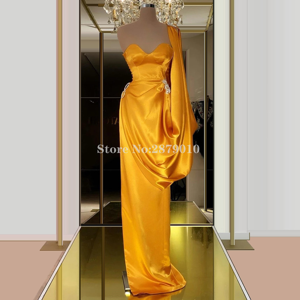 Bright Yellow Evening Dress Sheath Full-Length Sweetheart Beaded Crystal Prom Dress Robe De Soiree Aibye Vestido De Festa Dubai